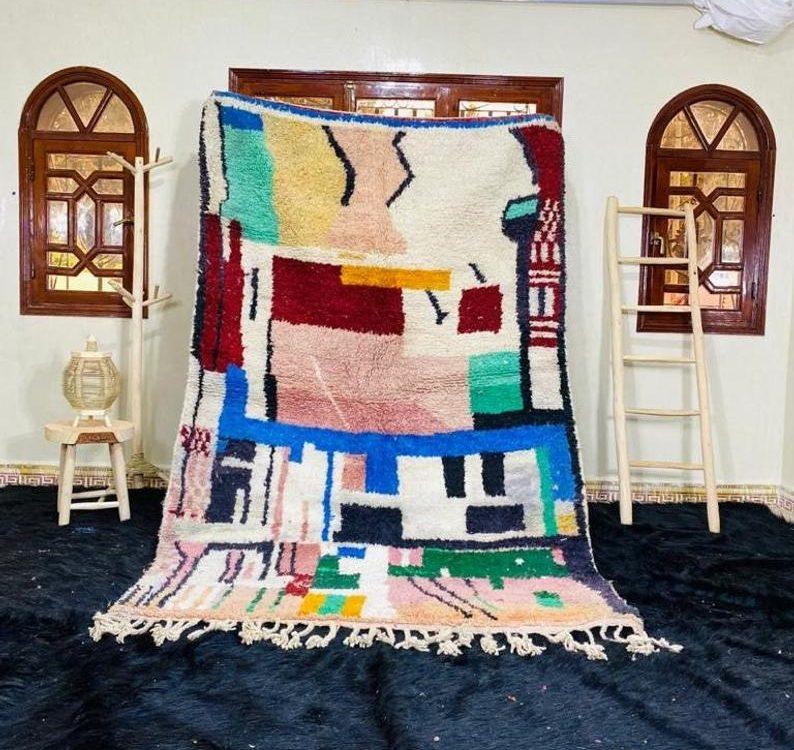 Moroccan Boujaad Rug, Handmade Wool Rug, Berber Rug, Abstract Rug, Tribal Berber Rug, Beige Boujad Rug, Tapis Marocain, Teppish Marokko.