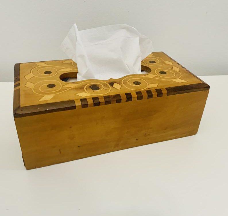 Vintage Moroccan Thuya wood tissue box, hand carved thuya wood Morocco, thuya wood art, Moroccan art, handmade tissue box wood