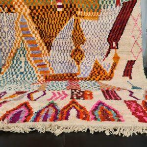 Fabulous Boujaad Moroccan Rug- Tribal Wool Carpet- Sheep Wool Rug- Boujaad Wool- Abstract Rug- Orange Handmade Carpet- Bohemian Rug