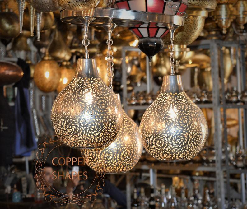 Handmade antique chandeliers from pure copper. Vintage and elegant chandeliers made of 3 copper balls