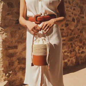 Natural wicker bucket bag, moroccan hand woven raffia bucket bag, raffia bag with leather handles for women, wicker bag, wicker straw bag