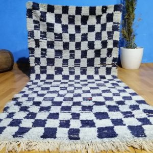 Vintage BOUCHEROUITE Rug , 6.56 FT X 2.88 FT , Moroccan Checkered Rug , Handmade Moroccan Rug , Shag Rug , Boucherouite Rug