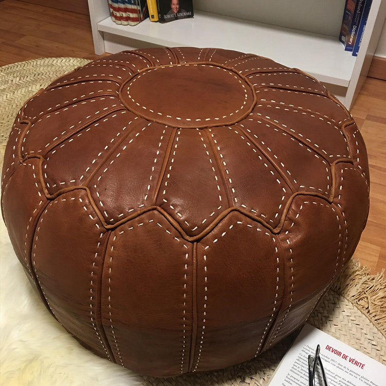 Moroccan Round Leather Pouf Brown Stitched With Hand, Premium Goat Leather Footrest, Pouf footstool, Moroccan Round Pouf (Unstuffed)