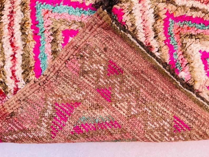 Moroccan rug 7.2 FT x 13.6 FT- Vintage morocco Boujad Rug - Area Rug - Antique Morocco Carpet - Old Berber Rug - Boho Rug- Handmade Rug 7x13