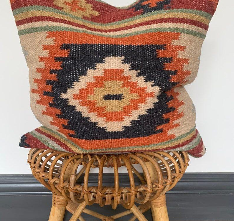 Aztec cushion,geometric cushion, ethnic cushion, Moroccan cushion, kilim cushion in the UK, Bohemian cushion cover