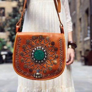 Bohemian STUDDED LEATHER BAG, Hippie Leather Purse, Boho Vintage Saddle Bag, Moroccan Berber Bag, Handmade Embossed Native Bag