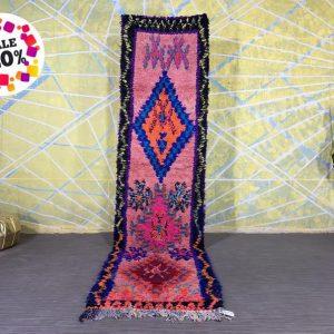 Handmade MOROCCAN RUG 2.6ft x 10.5ft handmade rug, wool rug, berber carpet, vintage moroccan rug, antique rug, boujad rug, morocco rug