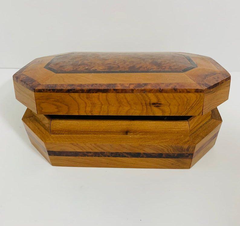 Vintage Moroccan Thuya wood jewelry box, hand carved thuya wood Morocco, thuya wood art, Moroccan art, handmade jewelry box wood