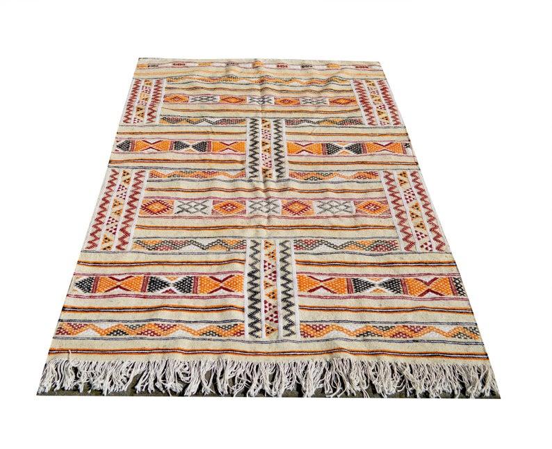 Moroccan Hand Made orange and cream kilim Berber rug with stripes - Natural Wool Moroccan Berber Rug - 210X140 KM 106