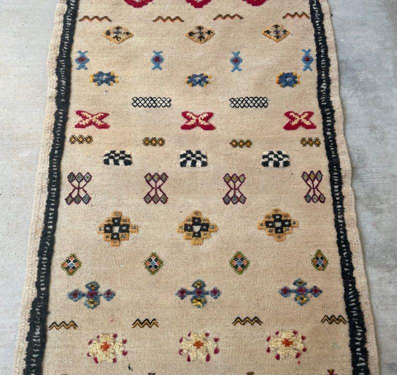 Small Moroccan Kilim Rug, Entry Rug, 2.1x3.5ft, Hallway, Floor, Home, Berber, Accent, Boho, Handwoven, Natural Wool, Ethnic, Door Mat, Decor