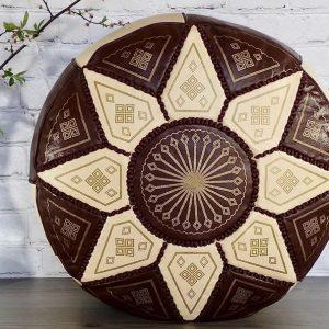 Moroccan Pouf Ottoman Faux Leather