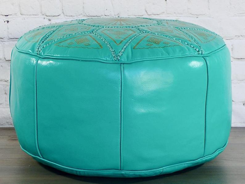 Moroccan Leather Pouf Ottoman Footstool,Moroccan Leather Ottoman Pouf