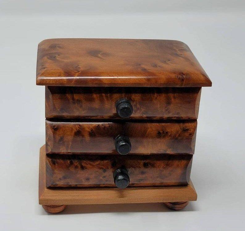 FedEx shipping, Wooden Jewelry Box Made Of Thuya, wood box with 3 drawers,Large Jewelry Organizer Box,Decorative box