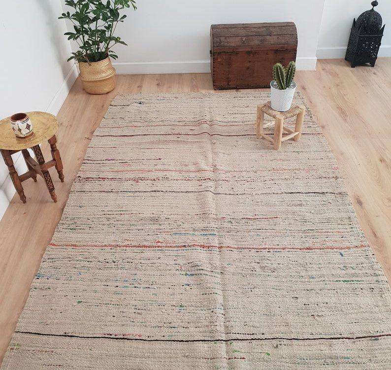 Moroccan Kilim Rug 4x9 ft, Moroccan Boho Rug, Handwoven Berber Rug, Tribal Bohemian Area Rug - 290x152 cm