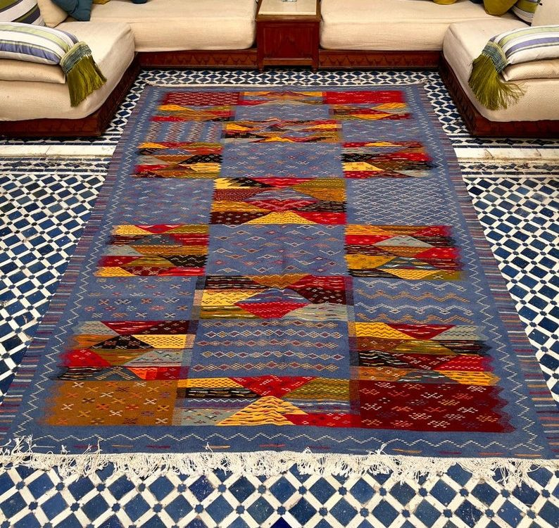 Blue Moroccan Kilim   Moroccan Wool Rug   Flat weave Low Pile   Multi-Color Carpet  Aghnif High Atlas   11.4 x 6.8 feet