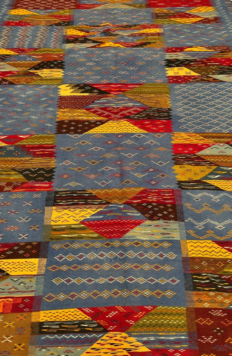 Blue Moroccan Kilim | Moroccan Wool Rug | Flat weave Low Pile | Multi-Color Carpet |Aghnif High Atlas | 11.4 x 6.8 feet