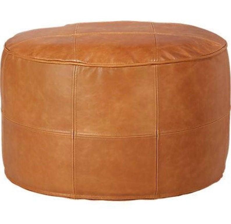 Dark Brown Leather Ottoman Chair