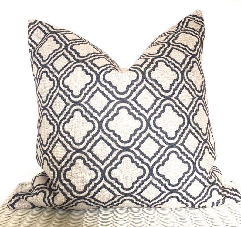 Dark grey cushion, Skandi cushion, Morcoccan print cushion, moroccan cushion cover, grey minimalist cushion, dark gray pillow, throw pillow