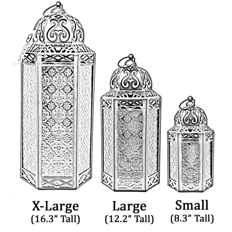 3-Piece Moroccan Tall Iron Lantern Set