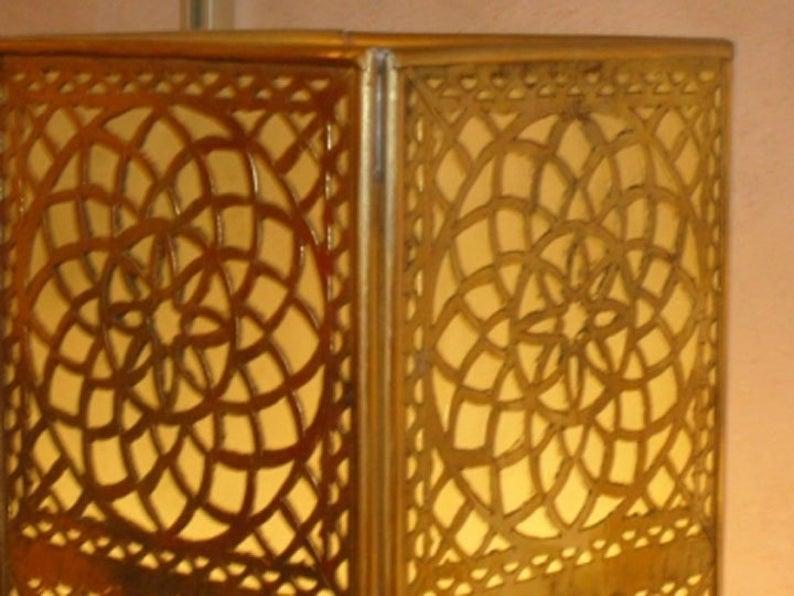 Moroccan standing copper lights , floor lights , Moroccan lamp table , desk lamp , Moroccan lighting , standing lights .