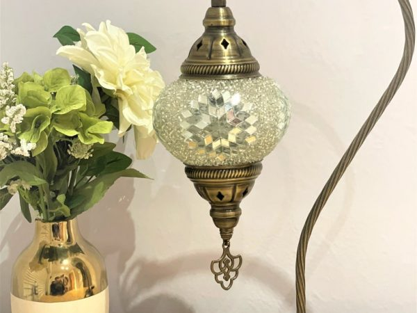 FAST DELIVERY FREE Shipment Turkish Moroccan Mosaic White Swan Neck Desk Table Lamp Light
