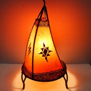 Plain Moroccan Henna Table Lamp - S shape - Orange 38 CM