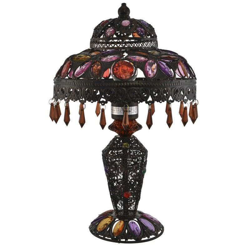 Turkish Moroccan Jewel Table Lamp Lantern Multi Colour Droplet Table Lamp - Home Decor Lights Bedroom Living Room