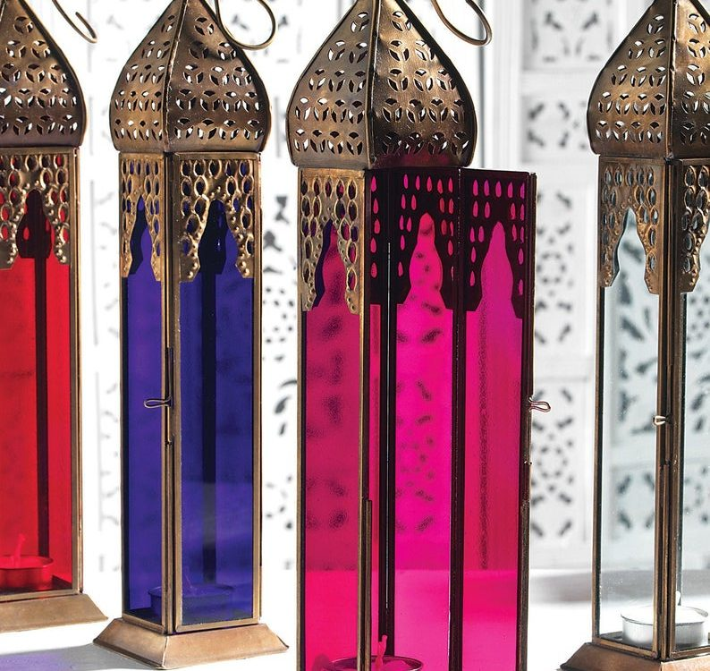 Tall Glass Lantern Candle Holders, Table lamp, Mosaic lamp, Glass lamp, Turkish, Moroccan, Lighting, Best Gift, Home Decoration