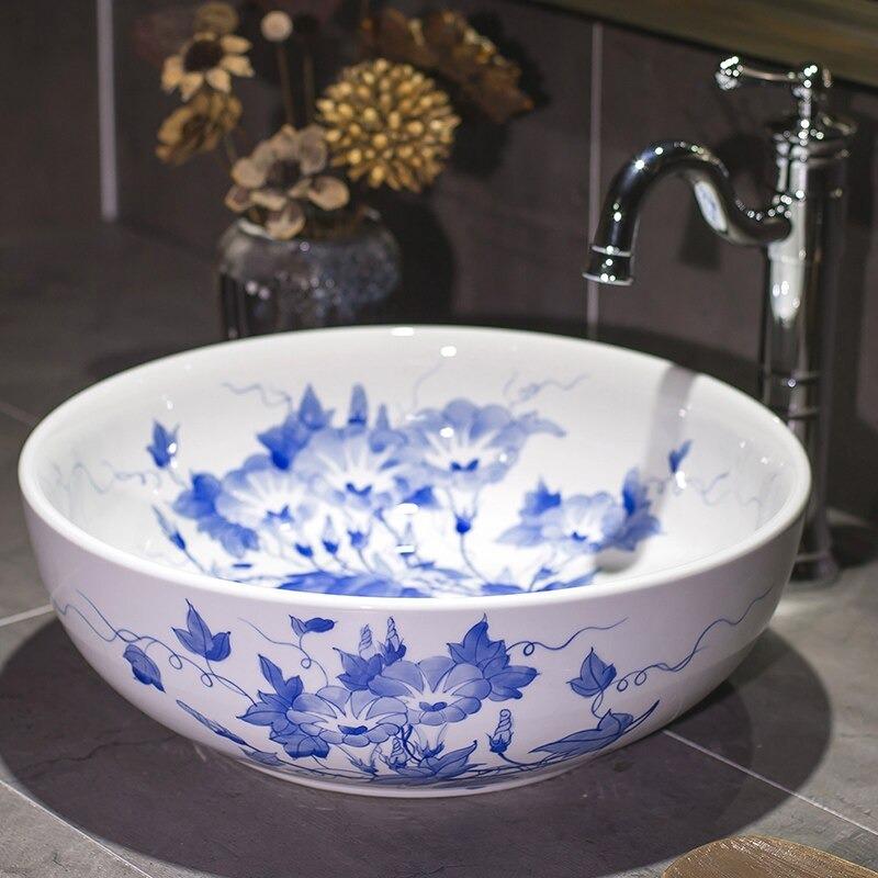 Bathroom Sinks blue and white ceramics wash basin