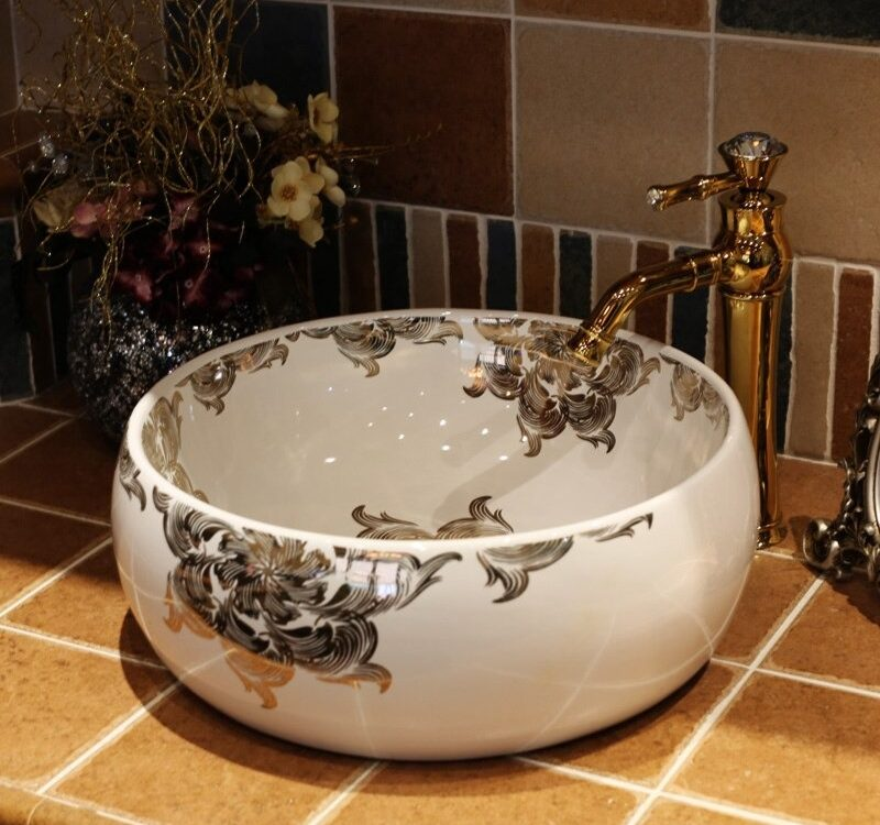 black ceramic bathroom sink