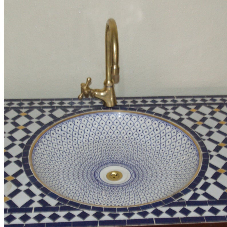 Hand Painted Moroccan Sinks With Faucet
