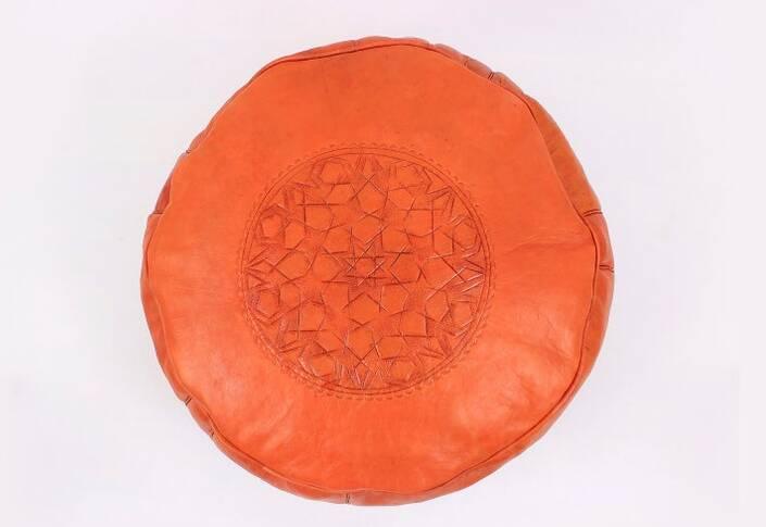Orange Leather Pouf,